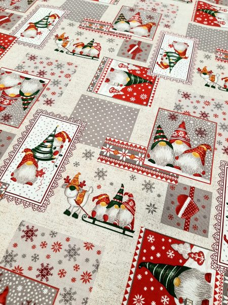 Χριστουγεννιάτικο ύφασμα τύπου λινό patchork εικόνων σε 2.80 φάρδος εξαιρετικό για τραπεζομάντηλο, ριχτάρι είτε κουρτίνα .