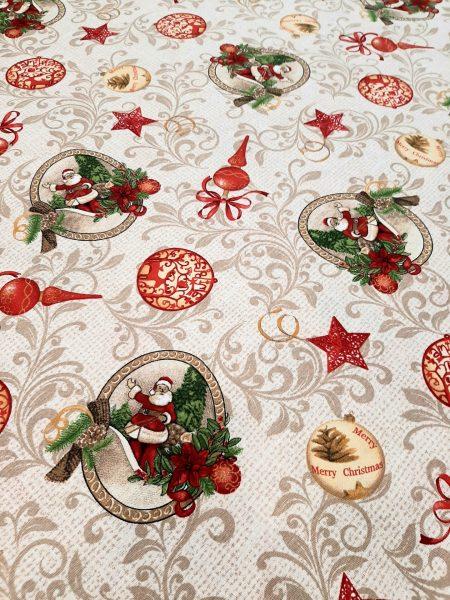 Χριστουγεννιάτικο ύφασμα τύπου λινό με τον Αγιο Βασίλη και χριστουγεννιάτικα στολίδια σε φ'οντο μπαρόκ σχέδιο σε 2.80 φάρδος εξαιρετικό για τραπεζομάντηλο, κουρτίνα .